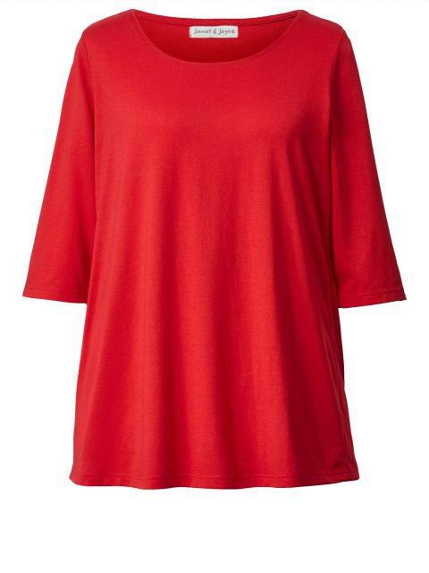 Shirt lange Form 3/4 Ärmel rot Janet & Joyce